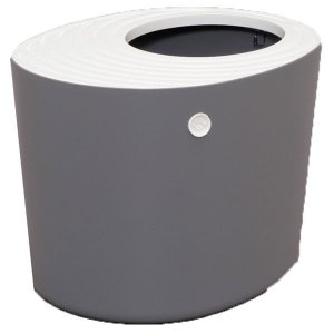 縦型デザインと飛び散り防止凹凸ふたで猫砂の飛び散りを解決する上から猫トイレです。猫の足に付着した砂が...