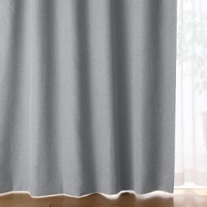 SALE/ 無印良品 ポリエステルドビー織(防炎・遮光性)プリーツカーテン/グレー 幅100×丈13...