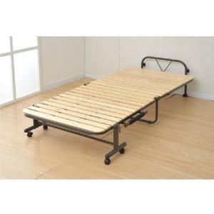 通気性の良いすのこマットを使用した折りたたみベッド。布団干し機能付き。キャスター付で移動もラクラク。...