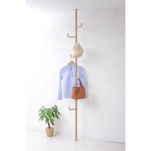 省スペースで沢山吊り下げられる。突っ張りタイプのポールハンガーです。木目シートで落ち着いたデザイン。...
