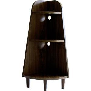 お部屋の端にピッタリ収まる、90°デザインの省スペースな木製コーナーラック。コード穴つき。棚耐荷重:...