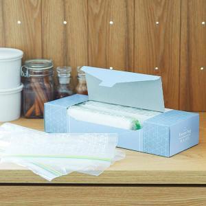 フリーザーバッグ M/Lアソート(マチ無し・冷蔵・冷凍対応)1セット(100枚:M/L各25枚入x2箱) ロハコ(LOHACO) オリジナルの商品画像|ナビ