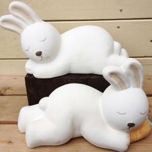 雑貨 オーナメント:ガーデンドール(おやすみウサギ)*形を選べます|y-bonsai