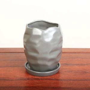 雑貨:モダン鉢 12.5cm ダークグレー*|y-bonsai