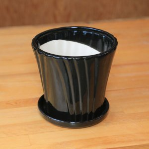 雑貨 洋風モダン鉢:リニエントラウンド(受け皿付) 15.5cm* y-bonsai