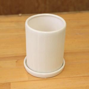 雑貨 洋風モダン鉢:クレムラウンドM(受け皿付) 11cm* y-bonsai