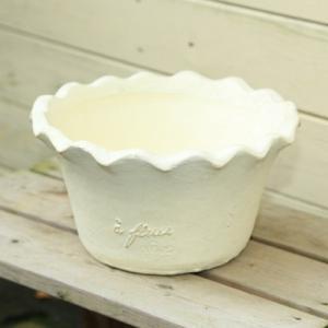ナチュラルガーデン雑貨/鉢:フリル・ラウンドポットS/26cm*(お色選べます)|y-bonsai