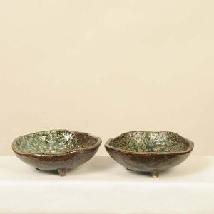 苔玉受け皿:国産益子焼 足付変形皿 雪/青イラボ|y-bonsai
