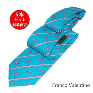 ネクタイ 1本1800円 シルクネクタイ  フランコバレンティノ ブランドネクタイ スカイブルー系 ストライプ ユリ柄|y-cravat-ueda