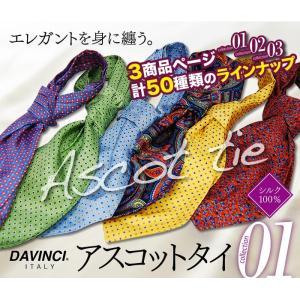 流行中のプリント柄アスコットタイ ネクタイ DAVINCI ダヴィンチ  シルク100% 商品ページ計50種類から選べる|y-cravat-ueda