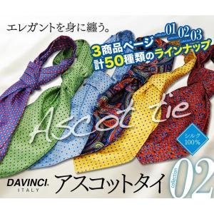 流行中のプリント柄アスコットタイ/ネクタイ ポスト投函 DAVINCI/ダヴィンチ  シルク100%|y-cravat-ueda
