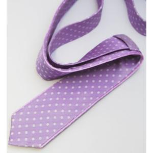 ネクタイ ナロータイ シルク 日本製 個性派 こだわり ネクタイ ライトパープル ドット×縁取り縫込み|y-cravat-ueda