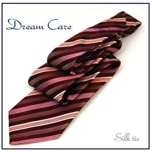 ネクタイ ビジネス ネクタイ シルク ストライプ バーガンディベース 環境に優しいドリームケア|y-cravat-ueda