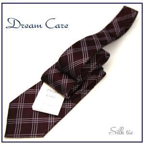 ネクタイ ビジネス ネクタイ シルク チェック バーガンディベース 環境に優しいドリームケア|y-cravat-ueda