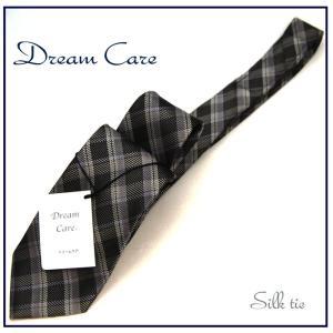 ネクタイ ビジネス ネクタイ シルク チェック グレーベース 環境に優しいドリームケア|y-cravat-ueda