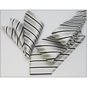 ネクタイ 結婚式 おしゃれ シルク モードなネクタイチーフセット シルバー系 日本製 フォーマル 礼装|y-cravat-ueda