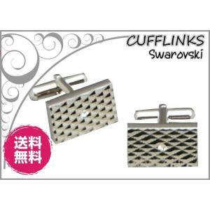 カフス カフリンクス シルバー スクエアタイプXクリアスワロフスキー  正規品  日本製|y-cravat-ueda