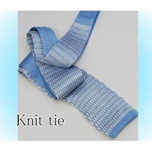 ニットタイシルクニット 小紋  クールビズ 清涼感を ナロー ネクタイ   水色ベース y-cravat-ueda