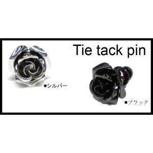 タイタックピン ピンブローチ ブローチピン バラ ローズ   日本製  ギフトにも|y-cravat-ueda