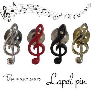 日本製のこだわり ラペルピン タイタックピン ピンズ 4色から選べる ト音記号 音楽好きにも 日本製|y-cravat-ueda