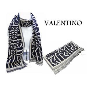 バレンティノ VALENTINO ブランド マフラー ウォームビズ メンズ 濃紺ベース ロゴ|y-cravat-ueda