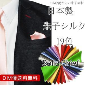 ポケットチーフ 朱子素材でワンランク上の艶感 無地 ソリッドチーフ ポケットチーフ(国産 シルク100%)|y-cravat-ueda
