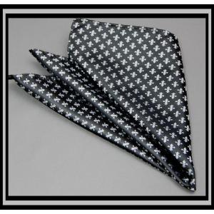 再入荷*メール便なら送料無料*ポケットチーフ 国産 シルク同色系小紋  人気のユリ柄シルバー系|y-cravat-ueda