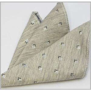 ポケットチーフ シルクコットン  国産 ライトグレーベース 小紋|y-cravat-ueda