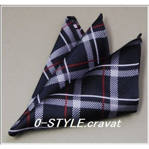 ポケットチーフ シルク 国産 紺ベース チェック y-cravat-ueda