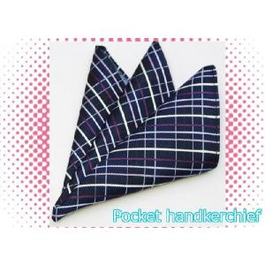 ポケットチーフ シルク  国産 紺 ネイビーベース チェック|y-cravat-ueda