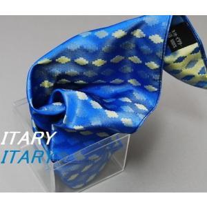 ポケットチーフ ITARY 青系ベースXからし系ポケットチーフ 綺麗色 地紋系無地タイプ   イタリー|y-cravat-ueda