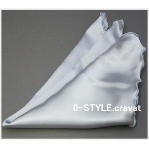 ポケットチーフ 珍しいフリル仕立て  無地 スクエア シルバー フォーマルやパーティに ポケットチーフ 結婚式 披露宴|y-cravat-ueda