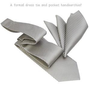 ネクタイ ポケットチーフ フォーマルネクタイ ライトシルバーグレー系ネクタイ&ポケットチーフセット 結婚式 披露宴に y-cravat-ueda