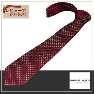 ungaro  ウンガロ ネクタイ エンジ系 格子柄 ブランドネクタイ紙袋つき|y-cravat-ueda