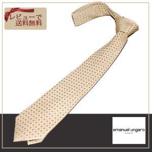 ungaro  ウンガロ ネクタイ ベージュイエローベース 小紋柄 ブランドネクタイ紙袋つき|y-cravat-ueda