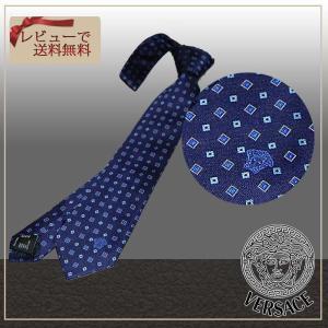 ネクタイ ブランド VERSACE ヴェルサーチ ネクタイ ネイビーベース 同色系小紋 ブランドネクタイ紙袋つき ギフト ビジネス 父の日|y-cravat-ueda