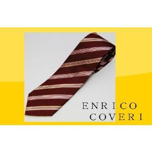 ネクタイ ブランド ENRICO COVERI エンリコ コベリ ダークエンジベース ストライプ ネクタイ ブランドネクタイ紙袋つき ギフト お祝い 誕生日|y-cravat-ueda