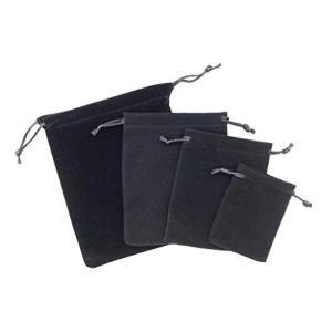アクセサリー 巾着袋 ベロア 収納 ブラック 12枚セット (4サイズ)|y-evolution