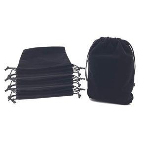 アクセサリー 巾着袋 ベロア 収納 ブラック 10枚セット (14.5×19cm)|y-evolution