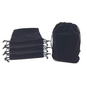 アクセサリー 巾着袋 ベロア 収納 ブラック 10枚セット (17.5×22cm)|y-evolution