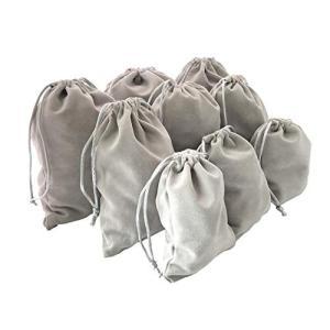 アクセサリー 巾着袋 ベロア 収納 グレー 9枚セット (3サイズ)|y-evolution