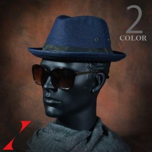 帽子 メンズ ハット 中折れ 無地 デニム マニッシュ ブラック ネイビー メンズ帽子 メンズファッション|y-fit