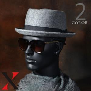 9月7日新作 帽子 メンズ ハット ウール フェルト ポークパイ テープ ブラック グレー メンズ帽子 メンズファッション|y-fit
