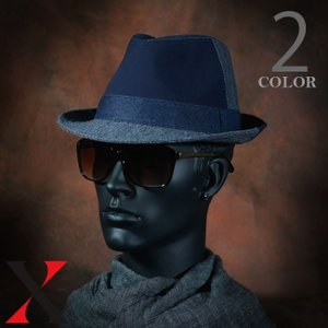 帽子 メンズ ハット 中折れ つば広 デニム ハイバック HAT ブラック ネイビー メンズ帽子 メンズファッション|y-fit