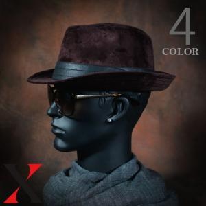 帽子 メンズ ハット 中折れ ベロア ハイバック HAT ビッグサイズ BIGSIZE ブラック ネイビー メンズ帽子 メンズファッ|y-fit
