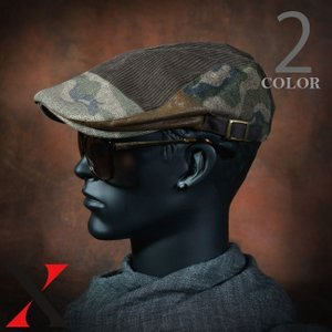 帽子 メンズ ハンチング ハンチング帽 迷彩 コーデュロイ PU 合皮 ブラック キャメル メンズ帽子 メンズファッション|y-fit