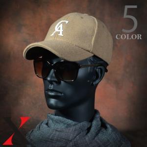 帽子 メンズ キャップ ベースボールキャップ CA エンブレム ブラック グレー メルトン|y-fit