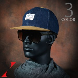 帽子 メンズ キャップ 平ツバ ツバ狭 ロゴ バイカラー ブラック ブルー デニム コンビ|y-fit