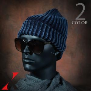 帽子 メンズ ニット ワッチキャップ デニム デニム糸 リブ リブニット コットン インディゴ染め|y-fit