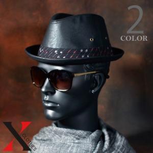 9月7日新作 帽子 メンズ ハット 中折れ 合成皮革 PU 合皮 久留米絣 絣 オトコマエチロル ブラック ネイビー メンズ帽子|y-fit
